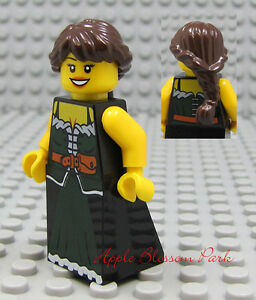 NEW Lego Castle FEMALE MAIDEN MINIFIG Brown Hair Princess Green Kingdoms Dress