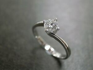 0.50 Ct Round Cut Moissanite Engagement Ring 14K Solid White Gold ring Size 6 7