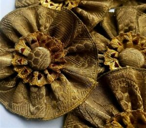 Gold w//Red Thread Accents Hand Made Metallic Trim Rosettes Double