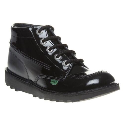 New Boys Kickers Black Kick Hi Core Leather Boots Lace Up