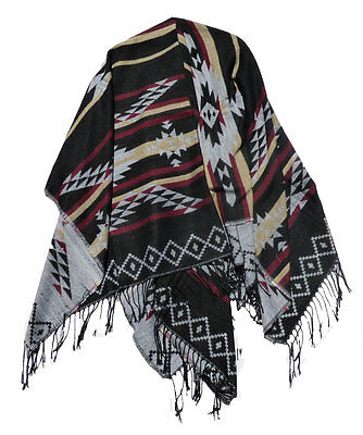 Poncho Umhang Cape Jacke Ethno Look Knitwear Mexikanisch Rot Oliv Gelb Schwarz 2