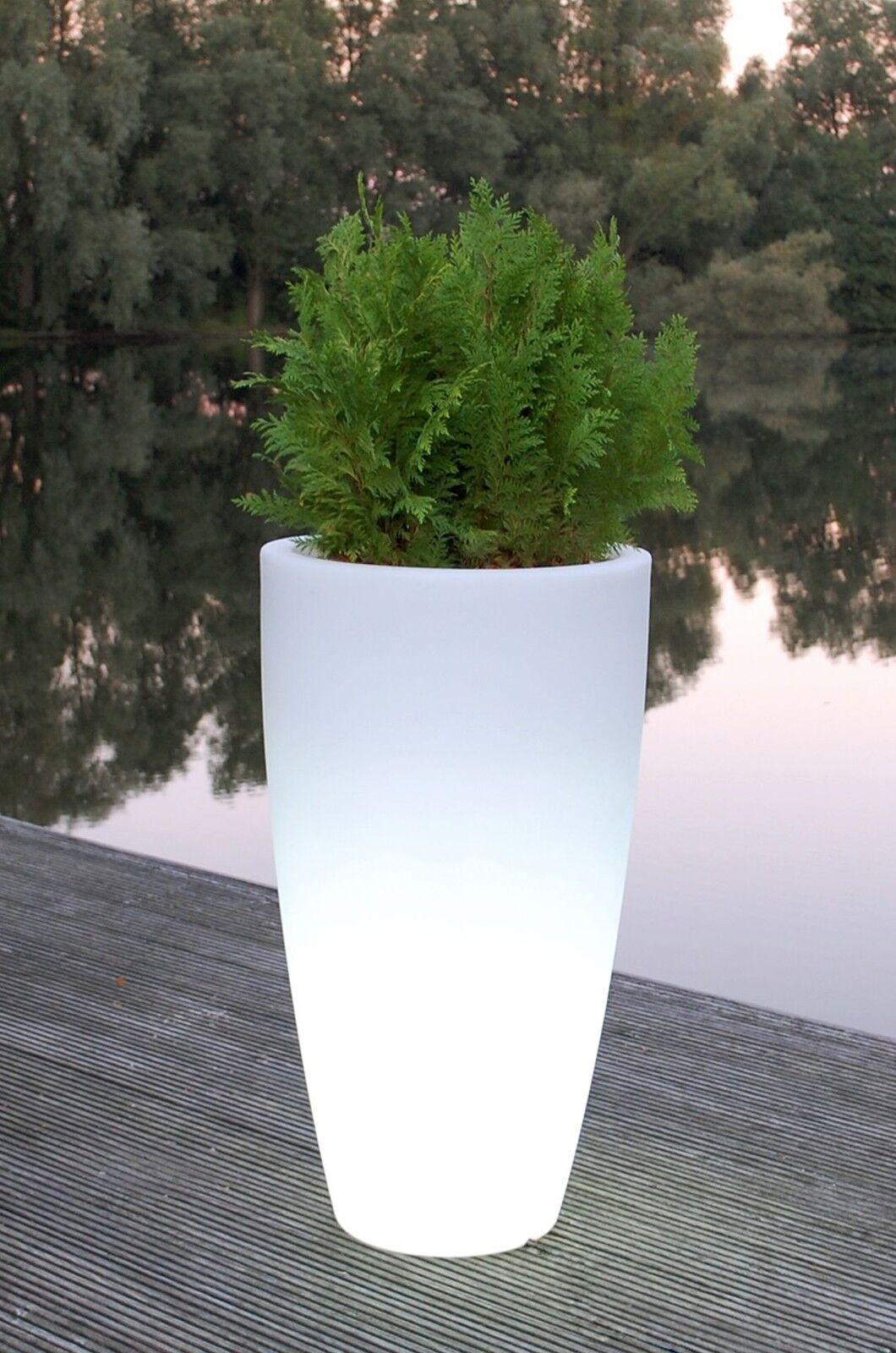 Pflanzkübel Blaumenkübel  City  aus Kunststoff beleuchtet, 90 cm, Weiß