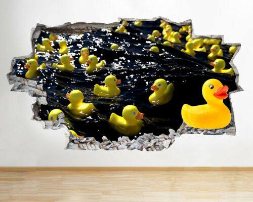 Wall Stickers Rubber Ducks Water Bathroom Smashed Decal 3D Art Vinyl Room F460