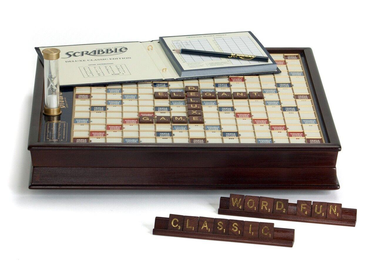 Scrabble Deluxe  edizione with rossoating Wooden gioco tavola Turntable Lazy Susan nuovo  elementi di novità