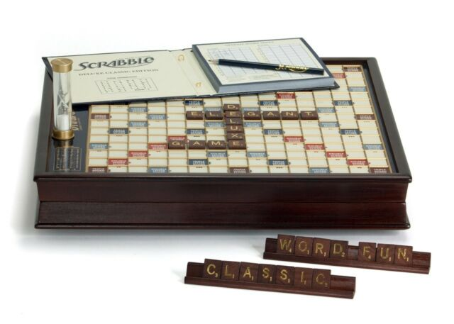 Scrabble Deluxe Edition Wood Rotating Turntable Word Board Game New Wooden