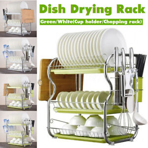 3-Tier-Chrome-Dish-Drying-Rack-Drainer-Cutlery-Cups-Holder-Drip-Kitchen