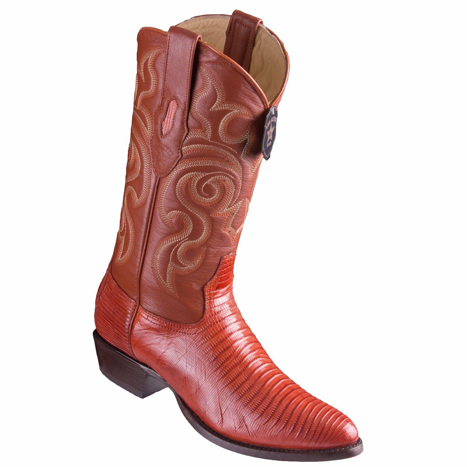 LOS ALTOS MEN COGNAC GENUINE TEJU LIZARD ROUND TOE WESTERN COWBOY BOOT 650703 D