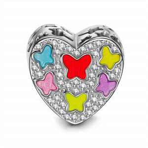 1pcs Silver heart CZ European Charm Crystal Beads Fit 925 Necklace Bracelet DIY
