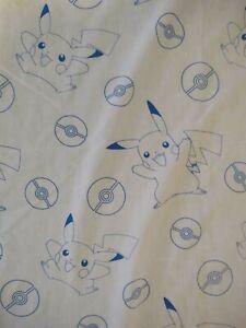 Pikachu and Poke Ball White and Blue Twin Flat Sheet