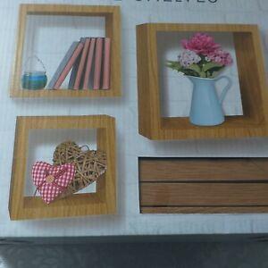 Set-of-3-Oak-wooden-Cube-Shelves-Wall-Decor-Vintage-Storage-Display-Cube-Shelf