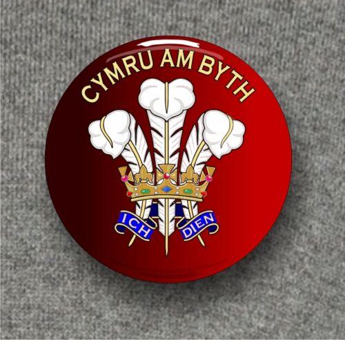 Cymru am Byth Prince of Wales feathers 58mm diam Large Button Badge