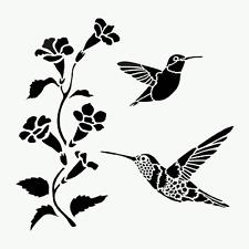 HUMMINGBIRD STENCIL HUMMINGBIRDS FLOWERS BIRD BIRDS STENCILS TEMPLATE CRAFT NEW