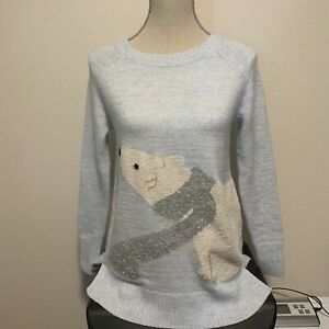 Lauren-Conrad-Light-Blue-Sweater-With-Polar-Bear-Size-XS-New