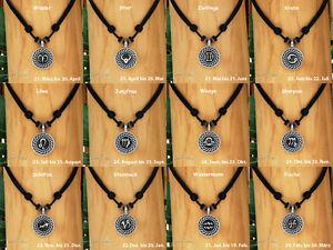 Halskette-Surfer-Kette-Leder-Kette-Herren-Schmuck-Sternzeichen-Tierkreiszeichen