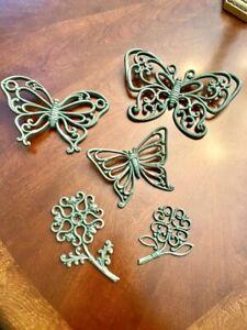 6-Vintage-Homco-Green-Flowers-Butterflies-Plastic-Wall-Hanging-Decor-Lot-VTG