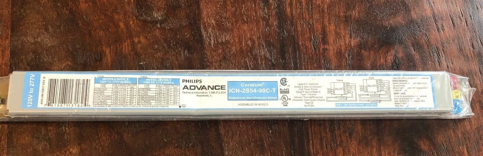 Philips Advance Intellivolt Centium ICN-2S28N 2 Lamp Ballast 120V F 277V