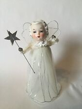 Vtg 1950 Porcelain Head Angel Christmas Tree Topper Mercury Beads Star Japan W1