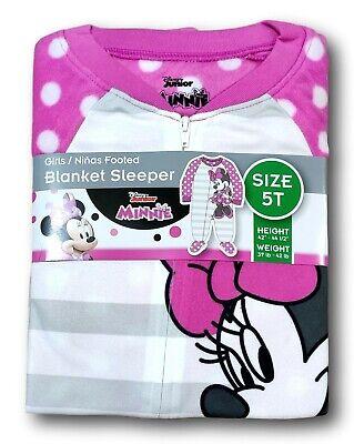 Disney MINNIE Mouse Toddler Microfleece Footed Blanket Sleeper Pajamas Sleepwear