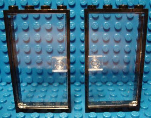 NEUF 1 x 4 x 6 LEGO 2 cadres noir avec trans clair Portes