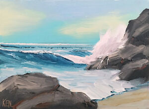 SLIGHTLY CLOUDY TWO Original Expression Seascape Ocean Painting 9x12 112118 KEN