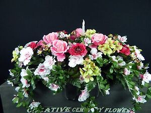 Solar candle double cemetery silk flower memorial headstone image is loading solar candle double cemetery silk flower memorial headstone mightylinksfo