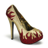 Bordello 5.75 Heel Gold W/ Red Flame Platform Shoes Pumps 6 7 8 9 10 11 12