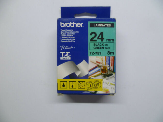 Brother Tape Cassette TZ-751 Black On Green 24mm Label Tape Cartridge Boxed