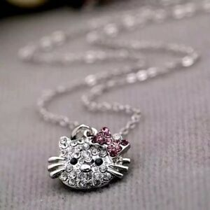 6e5053a3db077 Details about Womens Fashion Hello Kitty Crystal Rhinestone Pendant Necklace