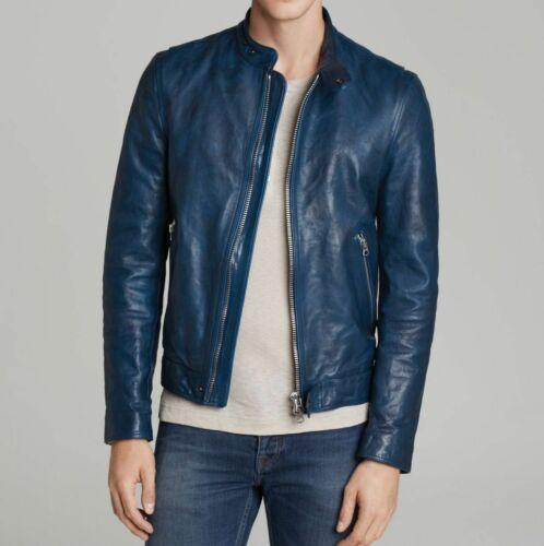 Men/'s Blue Leather Jackets Motorcycle Bomber Biker Real Leather Jacket 417