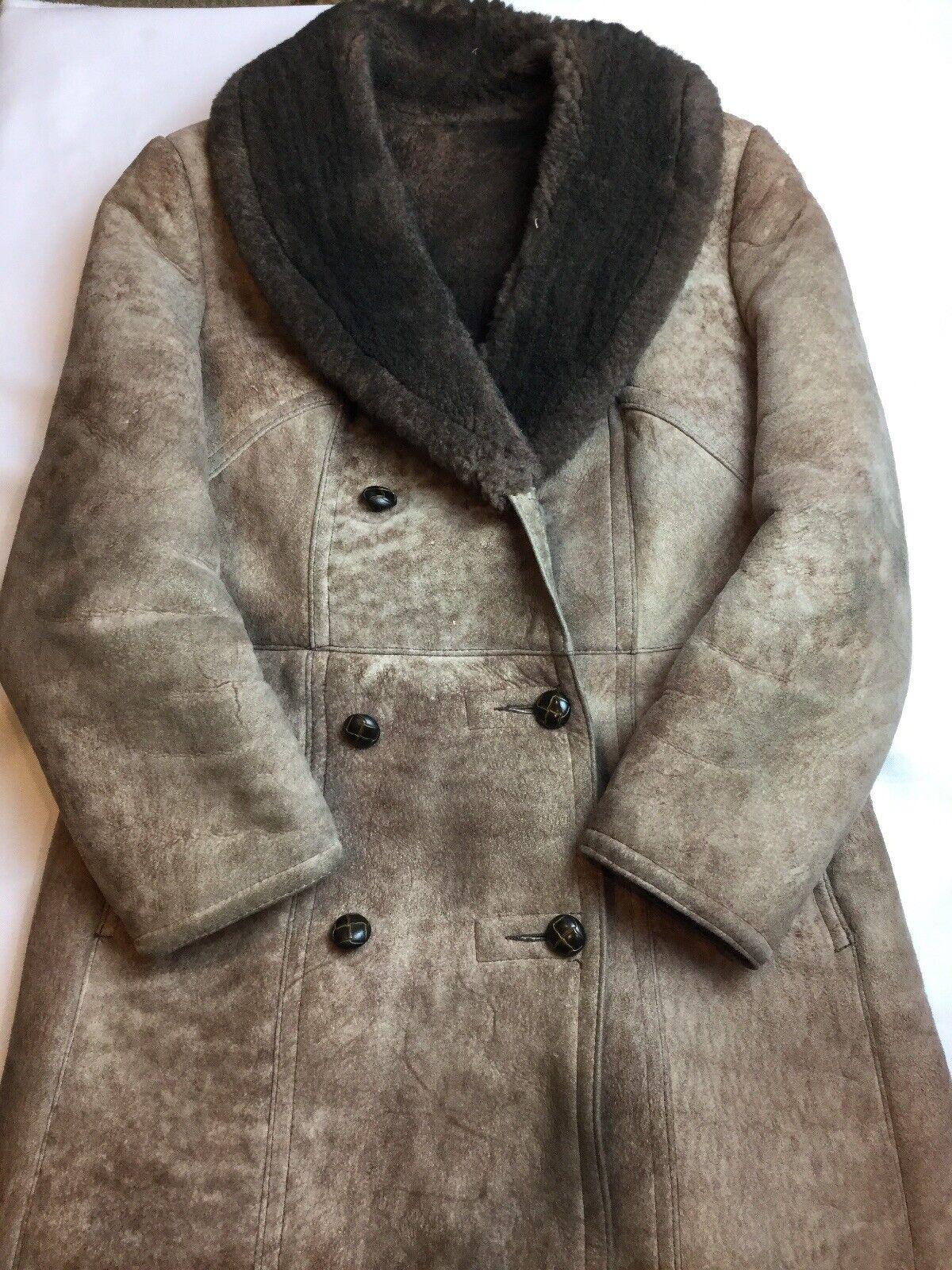 Vintage Lawrence Shearling Coat Full Length Large… - image 1