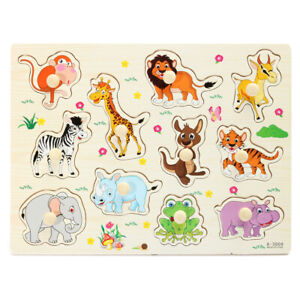 Zoo-Animal-Wooden-Hand-Puzzle-Toy-Children-Kids-Baby-Learning-Educational