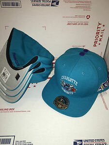 986aad364ed Adult Mitchell   Ness NBA 50th Charlotte Hornets High Crown Fitted ...