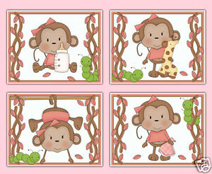 Image Is Loading Hanging Safari Monkey Wall Art Prints Baby