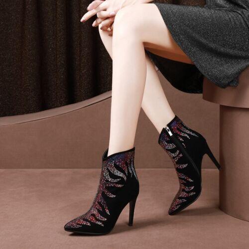 en cuir formelle bottines plus aiguilles chaussures Dame zippées talons strass xBWoQrdCe