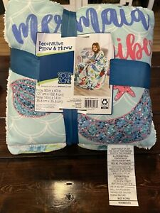 Kids Plush Pillow and Throw Blanket Combo Set Toddlers Bedroom Decor Mermaid New
