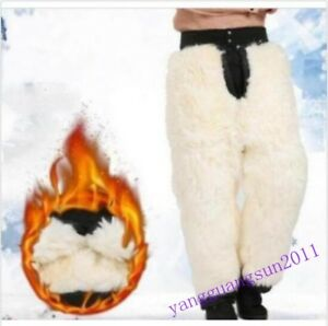 Mens-Women-Fur-Lined-Pants-Snow-Casual-Trousers-Warm-Outwear-Thicken-Winter-Size