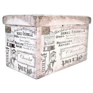 Super Details About Paris Grey Storage Ottoman Footstool Pouffe Blanket Box Organiser Vanity Unit Bralicious Painted Fabric Chair Ideas Braliciousco