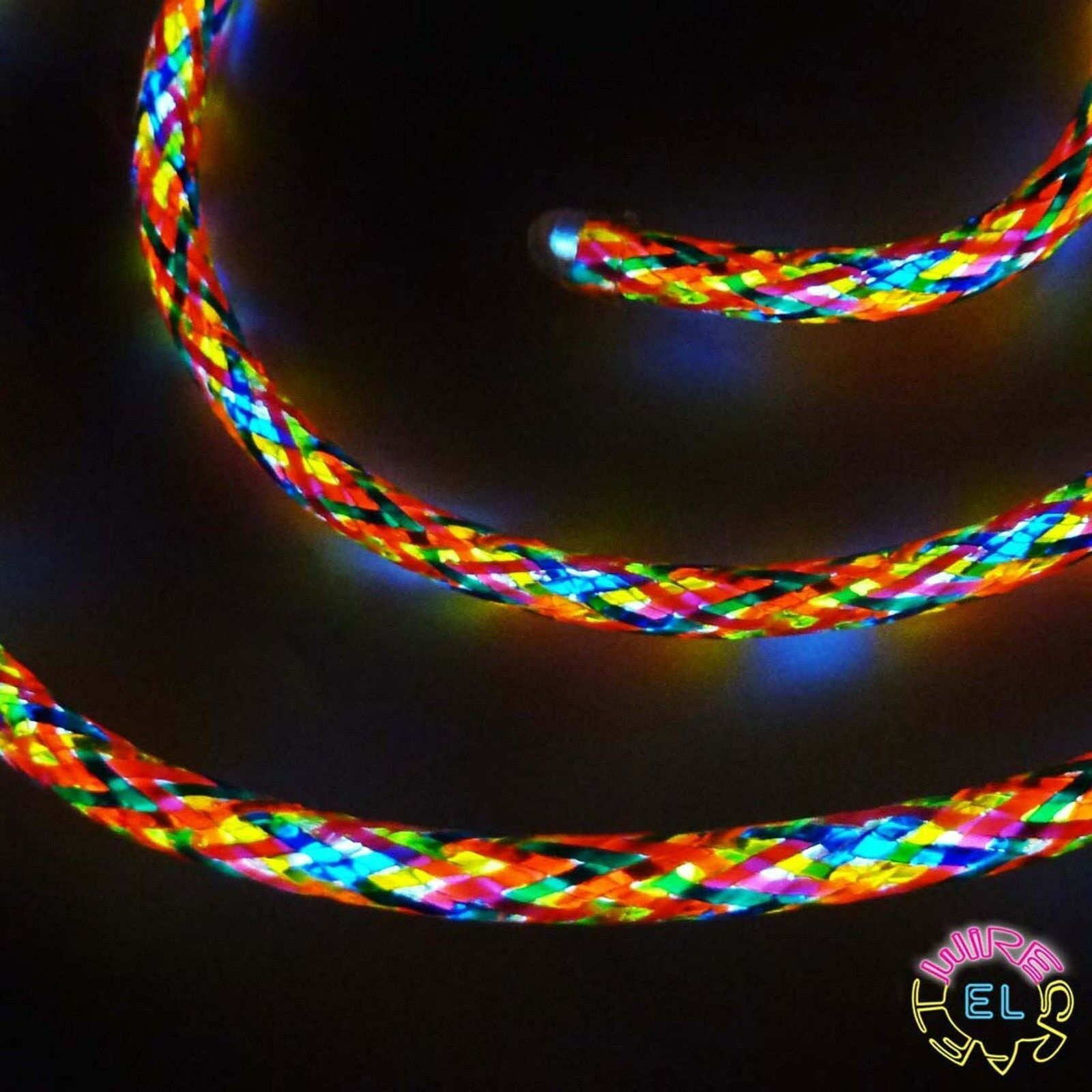 Multicolourot EL Wire 5mm  per metre Many Lengths of Beautiful Glowing Cable