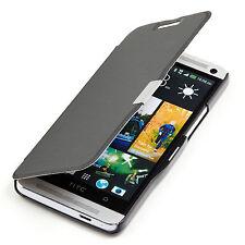 HTC ONE M7 Slim2 Flip Case Tasche Hülle Cover Etui Schale Schutz schwarz A9