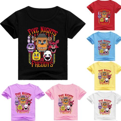 Boys Girls Kids Five night at Freddy T-shirt Short Sleeve Summer Casual Costumes