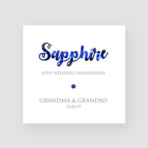 HusbandWife Personalised 45th Anniversary Card Forty-Fifth Anniversary Card Sapphire Anniversary Card For Them Couples HimHer