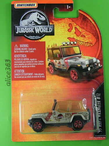 nuevo en caja original /'93 Jeep Wrangler #12 Matchbox 2018-Jurassic World