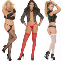 Plus Size One Size Queen Black Red Or White Fishnet Thigh Hi Stockings Em1775q