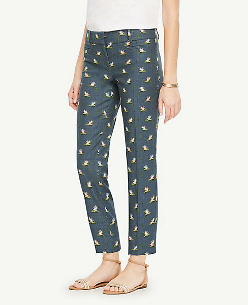 Ann Taylor Sz 10 The Crop Pant in Paradise Print Devin Fit Faded Teal NWT