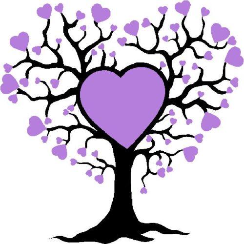 30 Custom Modern Purple Heart Tree Personalized Address Labels