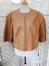 M&S Autógrafo Suave Cuero Crema/Beige Oscuro recortada chaqueta tamaño de Reino Unido 18