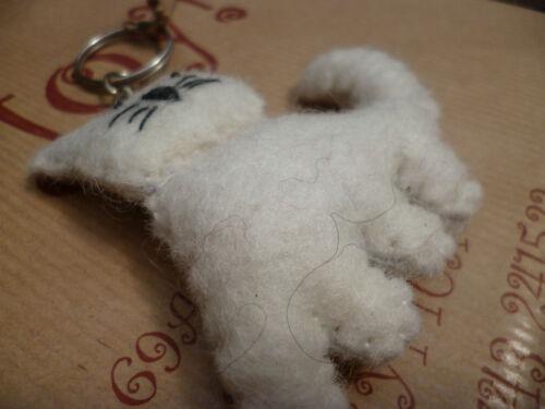 Felt White Cat Keyring Handmade Fair Trade Gift Home Ethical Accessory Ethical