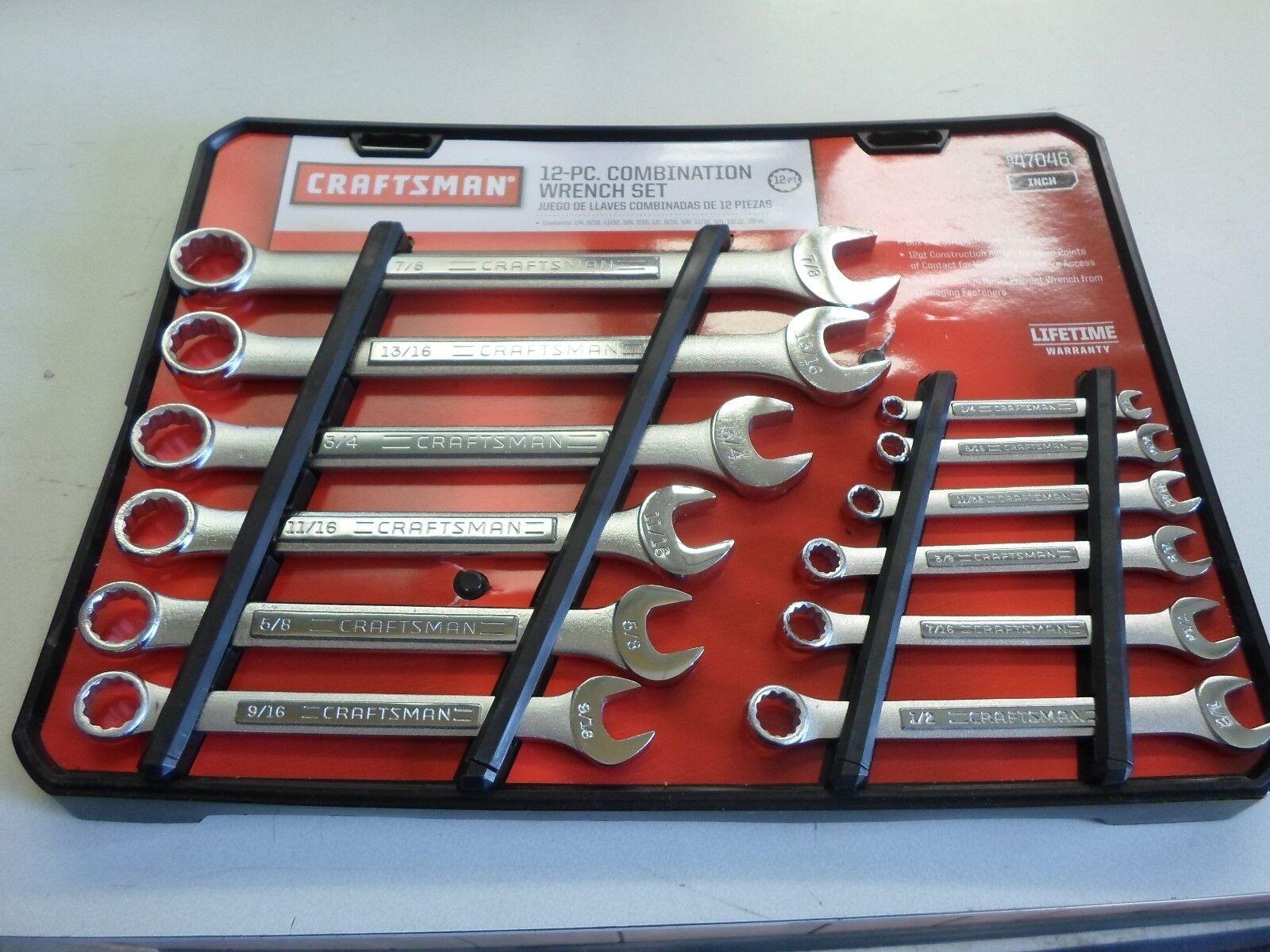 Craftsman 12 PC Piece 12pt Point Combination Wrench Set Standard SAE STD  Inch