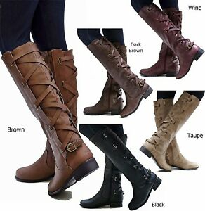 New-Women-Ecd-Brown-Black-Buckle-Riding-Knee-High-Cowboy-Boots-5-5-to-11