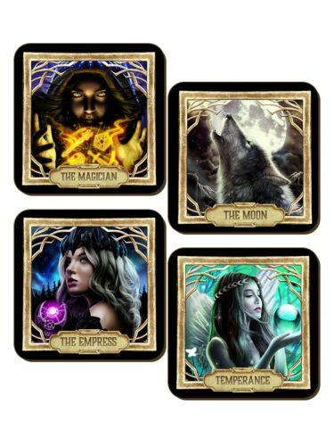 Deadly Tarot Coaster Set Obsidian Magician Empress /& Tempera e 4 Piece Moon